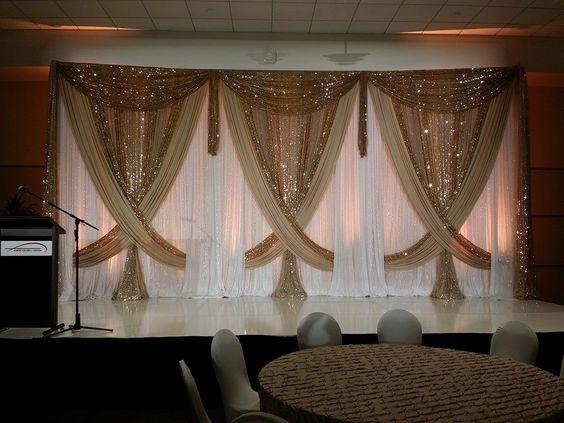 3m*6m Luxury Wedding Backdrop with Shiny Gold Swag Wedding drape and curtain wedding decoration