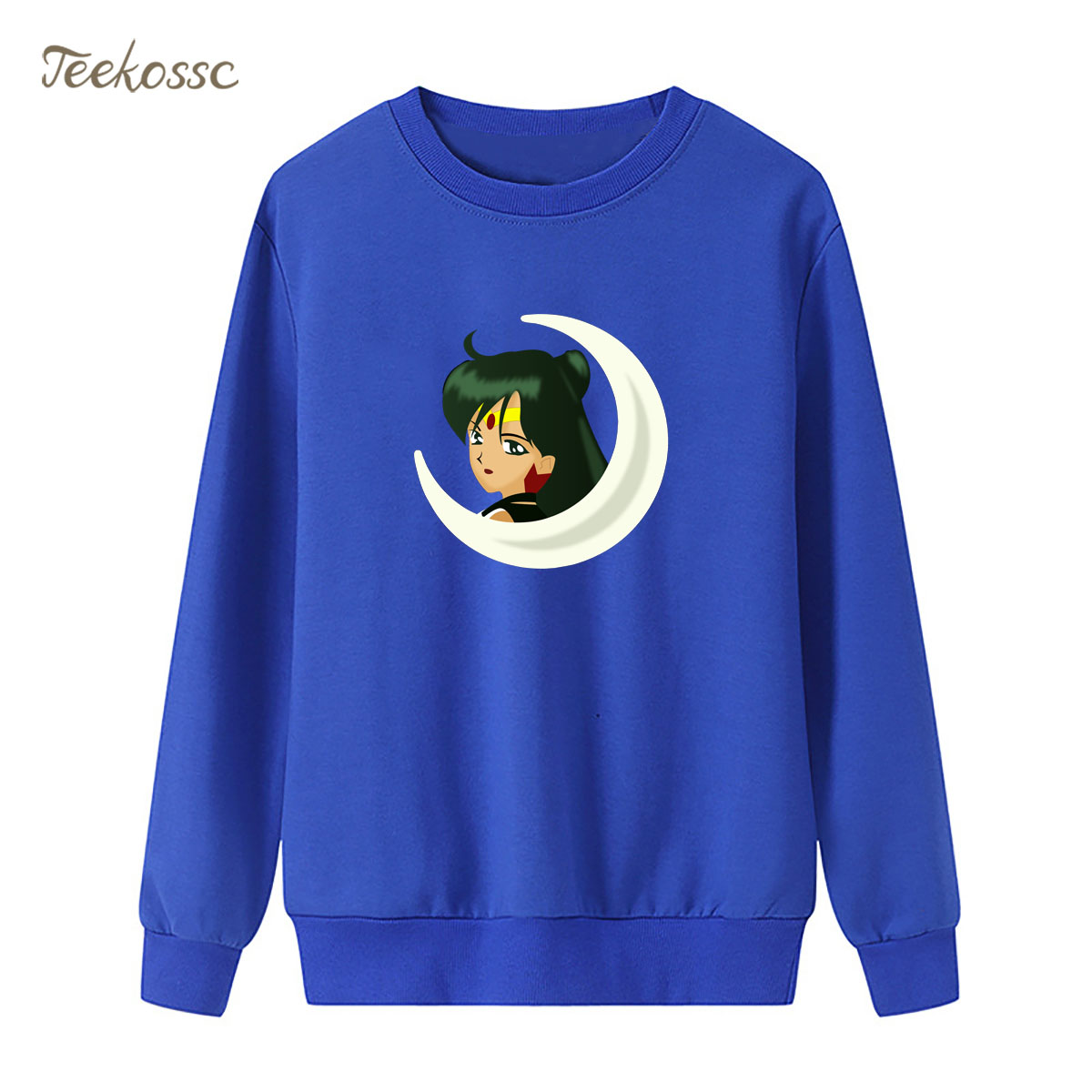 Cartoon Sailor Moon Sweatshirt Print Meiou Setsuna Hoodie 2018 Winter Autumn Women Lasdies Pullover Loose Fleece Brand Clothing