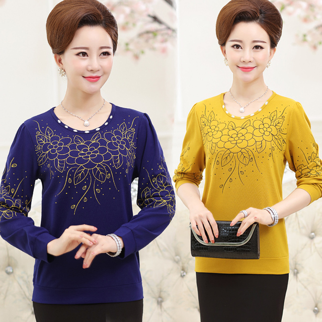 Nova moda outono primavera camisa básica de diamante meia idade mulheres mãe clothing top longo-luva o pescoço floral t-shirt tops