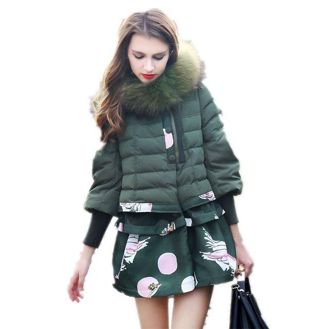 Saia Das Mulheres Para Baixo Casaco de Inverno Casacos Estilo coreano 2017 Nova Moda das Mulheres Jaqueta de Inverno Gola De Pele Com Capuz Jaquetas Femininas Y740