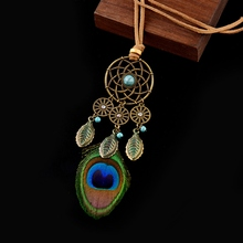 2019 Summer Bohemia Peacock Feather Pendant Necklaces For Women Hollow Dreamcatcher Leaf Tassel Stone Rope Chain Necklaces цена