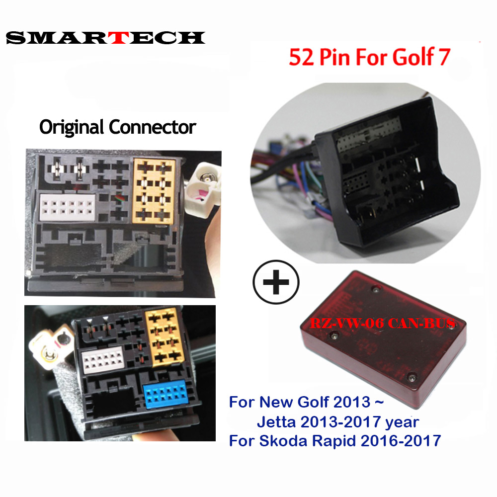 SMARTECH Android 2 Din Car DVD GPS Radio Player CANBUS Box For Skoda Rapid 2016 2017 New Golf 7 With 52 Pin Plug Adapter RZ-VW06