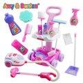 El Envío Gratuito! nuevo Niñas juego juguetes casa Simulación niños carro de limpieza con aspiradora herramientas higiene Girls regalos