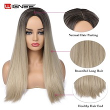 Wignee 2019 New Long Straight Hair Synthetic Wig For Women High Density Temperature Ombre Light Blonde/Pink/BUG Natural