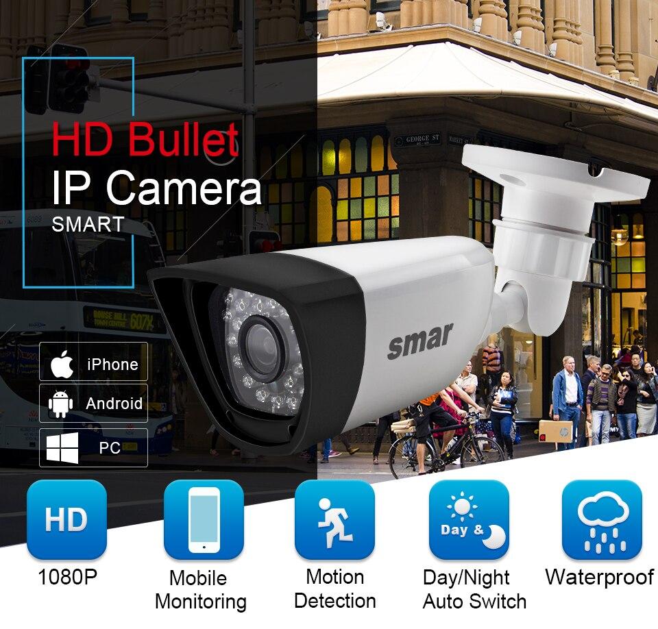 HTB1ULt9oIrI8KJjy0Fhq6zfnpXa3 Smar H.265 POE 2MP IP Camera Outdoor Waterproof CCTV 1080P 20fps HD 720P H.264 Network Bullet Camera 2.8mm Wide Lens P2P Onvif