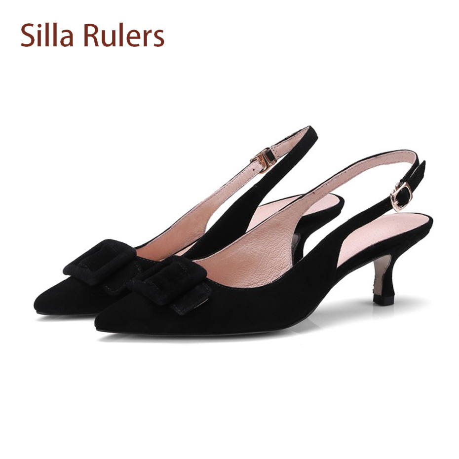 Silla Rulers sexy pointed toe thin heel elgant lady pumps sheep suede back strap buckle shoes women sandal slingback shoe spring stylesowner elegant lady pumps sandal shoe sheepskin leather diamond buckle ankle strap summer women sandal shoe
