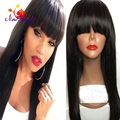 Stock! Long Silky Straight Synthetic Lace Front Wig With Bangs Cheap Wigs Heat Resistant Synthetic Wigs For Fashion Women