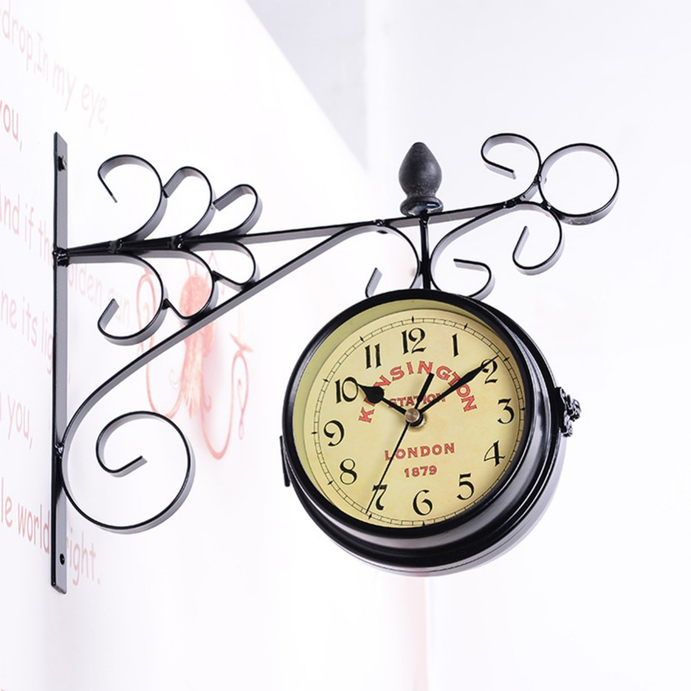 AsyPets Double-Side Wall Mount Clock With Mute Movement Home Office Hotel Decoration Gift -40