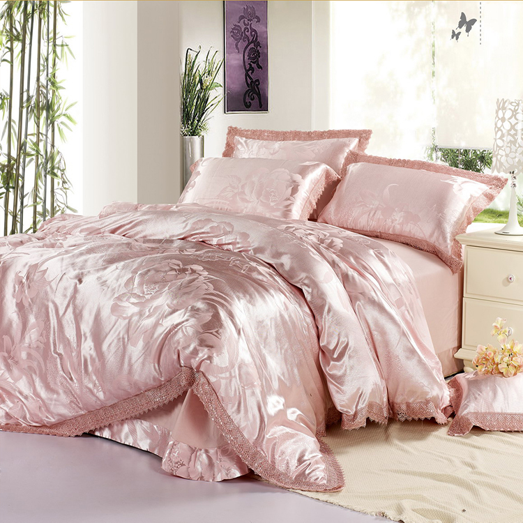 100% SILK Satin Embroidery Luxury silk bedding set/duvet cover/jacquard wedding bedding set /bed sheet,bed in a bag sabanas