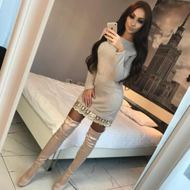 New Trendy Women dress Autumn round neck lace solid Long Sleeve casual  Bodycon Polyester Mini Dresses 68c441e305f7