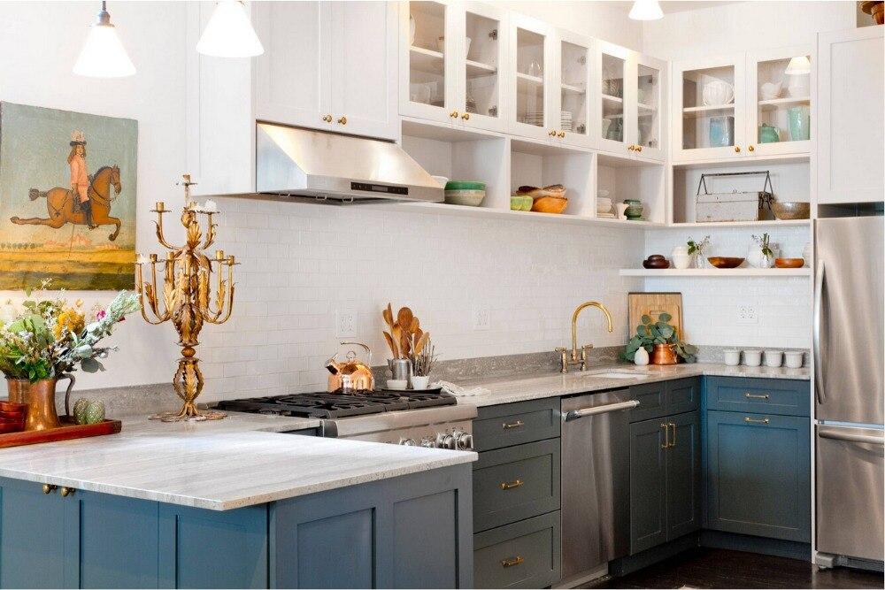 nuevo estilo de la coctelera tradicional por encargo gabinetes de cocina de madera maciza de