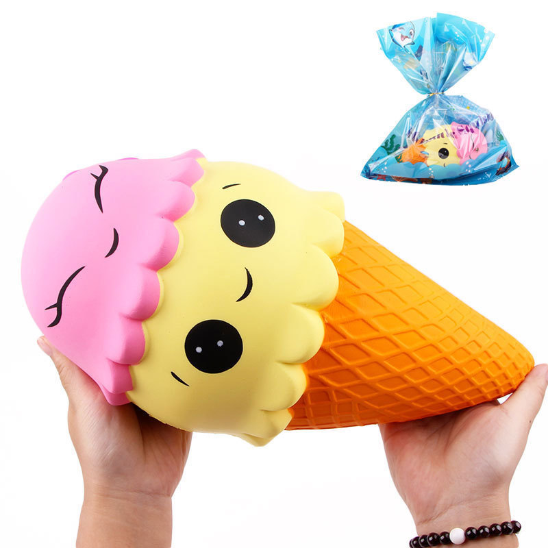 Free Shipping 28cm/18cm Soft Slow Rising Jumbo Ice Cream Squishies Kids Funny Soft Anti Stress Toy Gifts With Retail Package #DS
