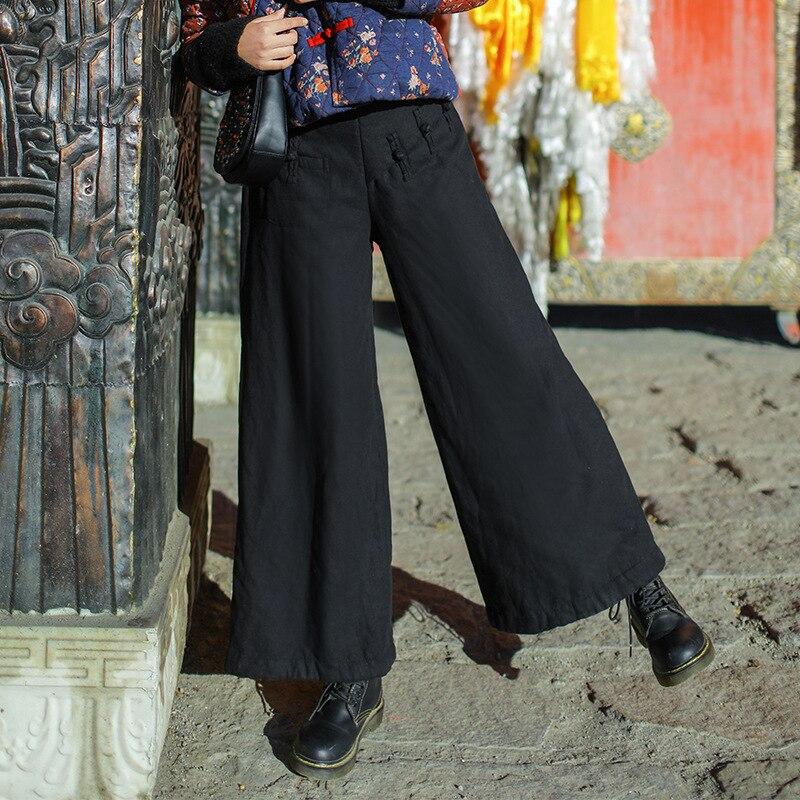 Mujeres Mujer Cintura Color Pantalones Algodón Elástica Fleece Vintage Winter rojo Negro Sólido Warm Retro 6Frw06q
