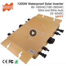 Waterproof Ip65 1200W Micro Solar Grid Tie Inverter DC 22-50V to 80-160VAC or 180-260VAC, 50hz/60hz Auto, max for 1400W panels стоимость