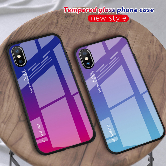 GerTong XR 2018 Rainbow Gradient Glass Case For iPhone XS MAX Phone Cover Soft TPU Edge Cases For iPhone X Full Protective Shell