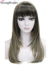 قوي الجمال بيروكات صناعية طويل مستقيم المرأة الحرارة Registant كابليس الشعر العديد من اللون