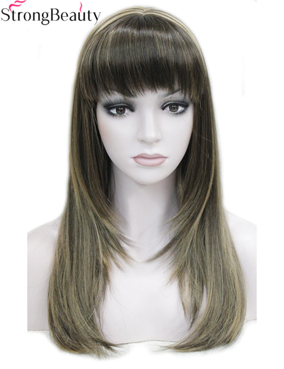 Strong Beauty Synthetic Wigs Long Straight Women's Heat Registant Full Capless Hair Many Color