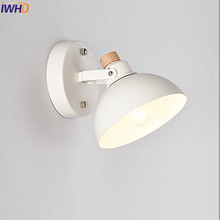 IWHD Wooden Modern LED Wall Lamp Beside Lighting Stairs Bedroom White Color LED Wall Light Sconce Arandela Lampara Pared iwhd vintage glass lampara pared creativeretro iron loft wall lamp black bedroom lighting stairs beside reading light fixture