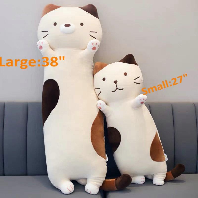 27 38Long Super Soft Munchkin Cat Body Stuffed Animal Plush Throw Sleeping Pillow Round Lazy Fat Cat Sofa Cushion Girl