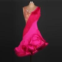 New style Latin dance costume spandex tassel stones latin dance dress for women latin dance competition dresses 2XS 6XL