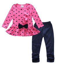 Girls Clothes Children's Cartoon Suit Ruffled Bow Sheep Girl Cotton Suit Heart-shaped Print Children's Suit girls sheep print ringer romper