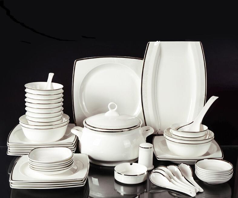 Square Bone China Tableware Suit European Simple Dishes