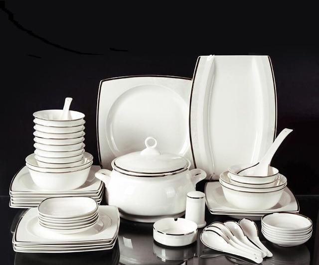 Square bone china tableware suit European simple dishes set Ceramic dinnerware sets Housewarming gift & Square bone china tableware suit European simple dishes set Ceramic ...