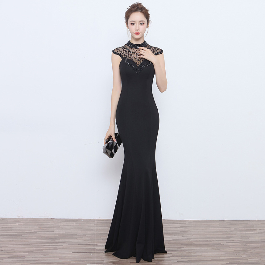 Plus Size Evening Dress Long Black Winter Qipao Cheongsam -4245