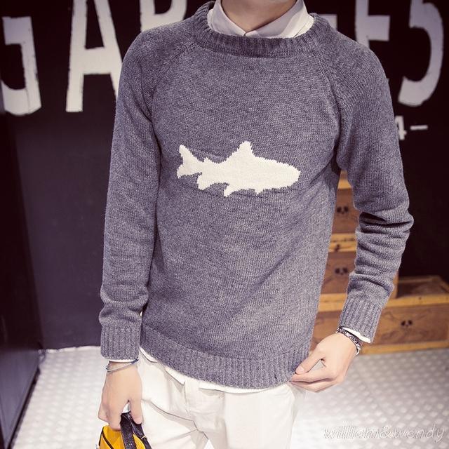 Los hombres de lana delgada otoño shark jumper jersey de punto suéteres suéter de invierno ropa de hombre ropa de abrigo coreano delgado masculino coreano