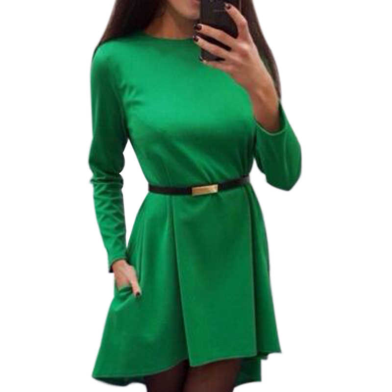 Irregular Women Solid Dress 2019 Autumn Winter Long Sleeve O-Neck Elegant Casual Loose Office Lady Dresses Without Belt Q0074B
