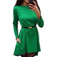 Irregular Women Solid Dress 2017 Autumn Casual Loose Office Lady Dresses Winter long sleeve Elegant Vestidos Without Belt Q0074B