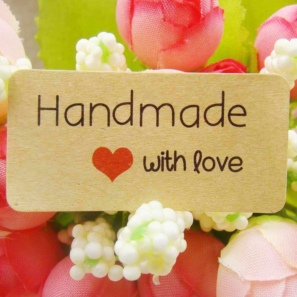200 Pcs Retangular Handgemaakte Custom Sticker Label Met Liefde Voor Gepersonaliseerde Bruiloft/Gift/Kleding/Schoolbord Diy Gift tags Labels