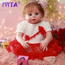 IVITA DS1812 full silicone reborn baby doll realista vinyl newborn princess with planted hair toddler girls toys for children все цены