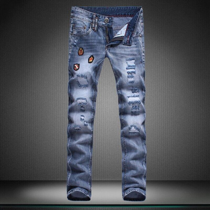 straight new hole boy jeans Little feet pants High quality designer Brand men s trousers