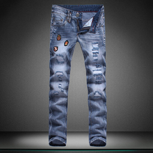 Прямо новое отверстие мальчик джинсы Маленькие ноги штаны Высокого качества дизайнерский Бренд мужские брюки