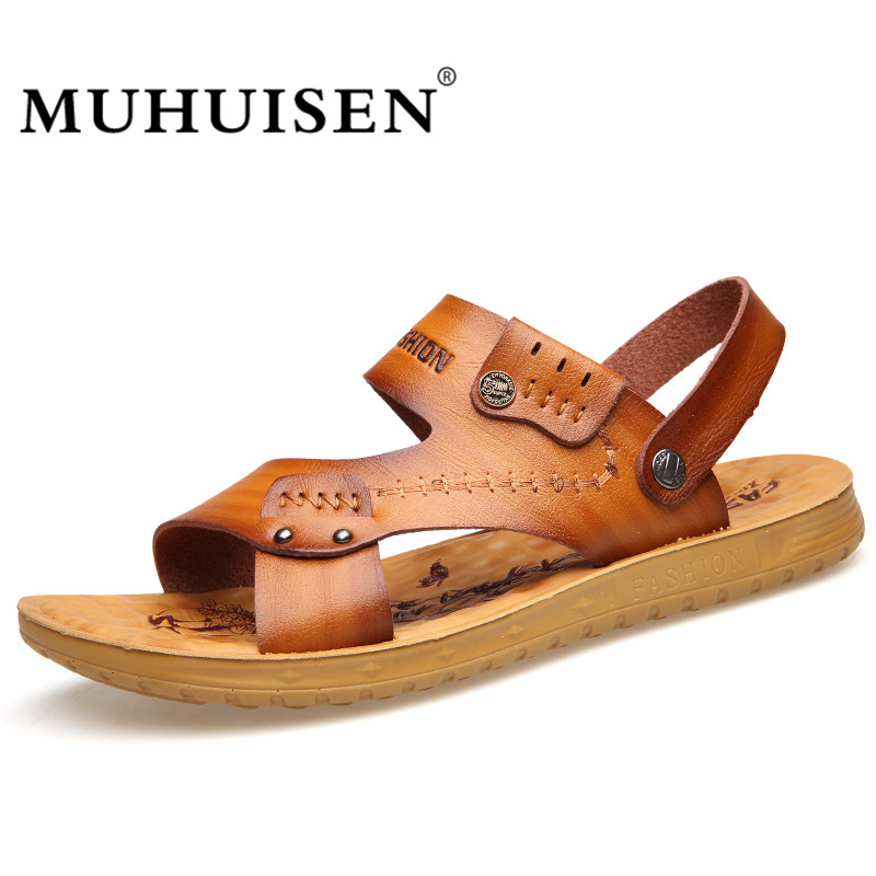 MUHUISEN Summer Men Sandals Fashion PU Leather Mens Beach Sandals Brand Male Casual Shoes Flip Flops Slippers Breathable