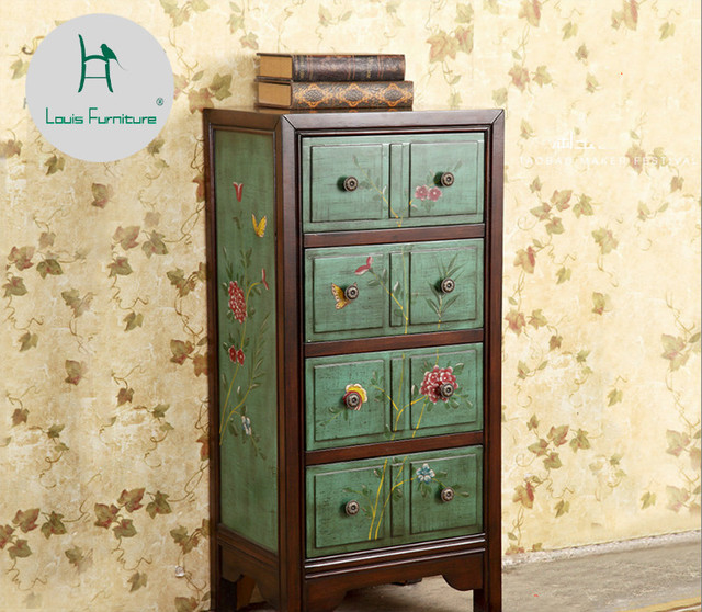 Louis Fashion American Past Painted Furniture Green Chest Locker Side Bedroom Corner Cabinet Table
