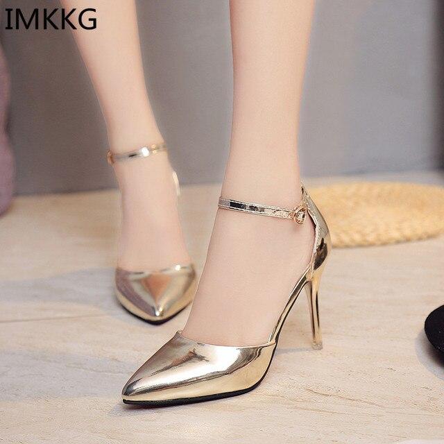 5ffbed8ce3 Plus size 40 Mulheres magras sapatos De salto Alto Vestido Sapatos Mulher  Ouro Prata Sapatos de