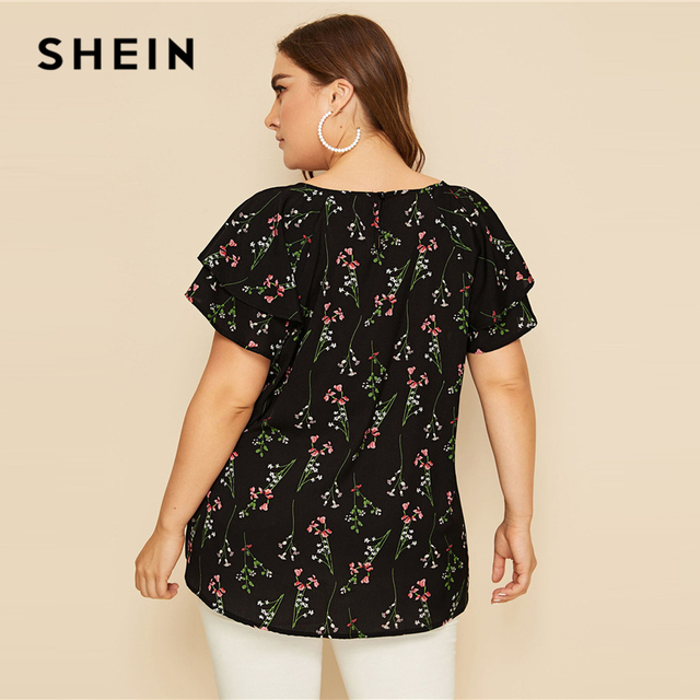 SHEIN Plus Size Choker Neck Layered Ruffle Sleeve Botanical Top Blouse 2019 Women Summer Casual Floral Print Cut Out Blouses 4