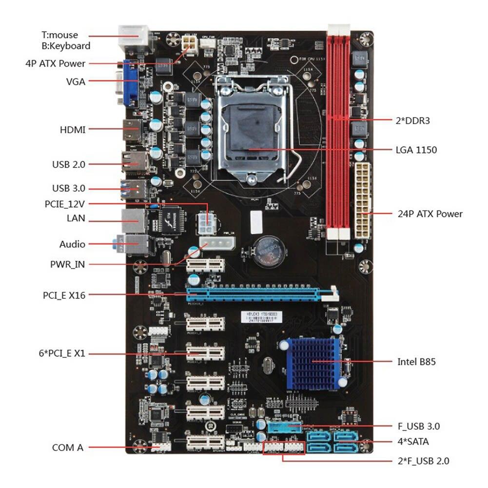 все цены на New Hot PCI-E 1X Riser Board 6 GPU H81 Mining Motherboard PCI-E Extender Riser Card For BTC Eth Rig Ethereum