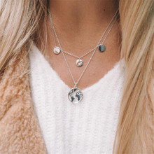 цена на Free Shipping Metal Coin Tassel Sweater Chain Necklaces For Women Jewelry World Map Pendant Necklace Kolye