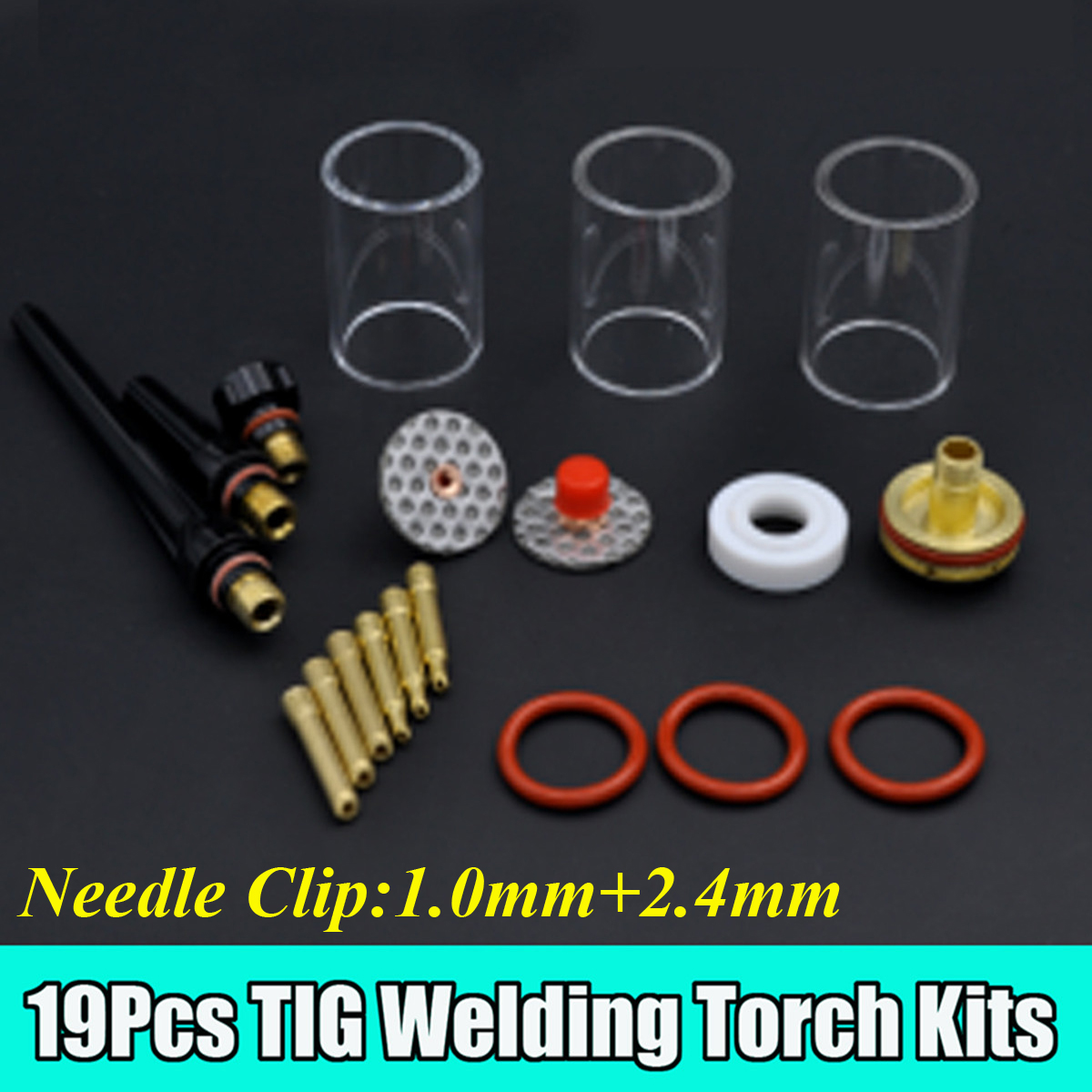 1.0mm+2.4mm 19PCs TIG Welding Torch Kit Tungsten Needle Clip Stubby Collet Body Gas Lens Pyrex Glass Cup for WP-17/18/26 Series 17pcs tig welding torch stubby collet gas lens glass nozzle pryex cup kit with heat resistant o rings for wp 17 18 26 series