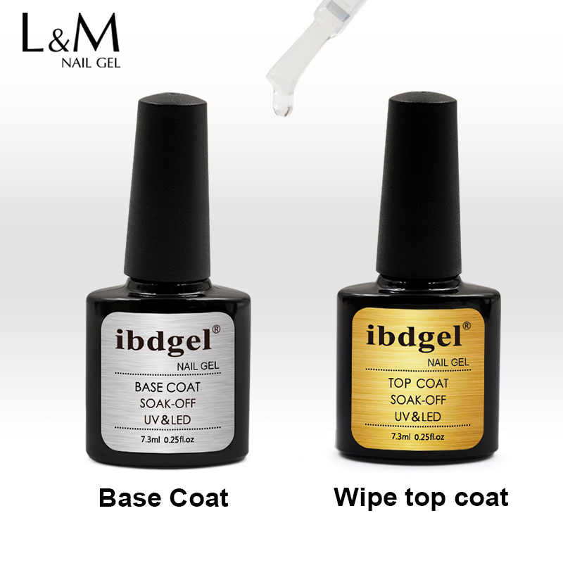 Ibdgel 2 Stuks Base Coat Gel Polish Uv Gel Top Coat Matte Gehard Top Het Off Kleur Gel Nagellak diy Nail Art Gratis Schip