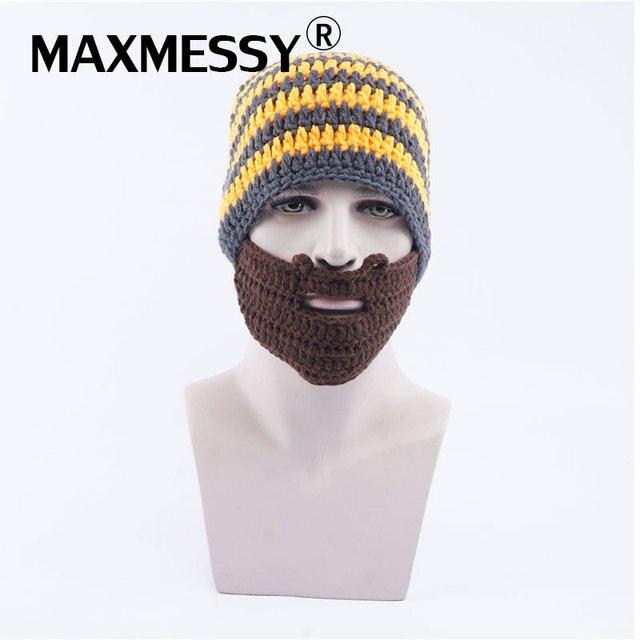 Maxmessy divertido punto peluca barba máscara sombreros hombres invierno  Halloween gorros para los hombres cabeza caliente afe7e497484