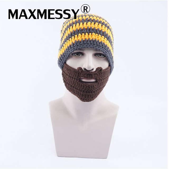 4d4f770c04a4 Maxmessy divertido punto peluca barba máscara sombreros hombres invierno  Halloween gorros para los hombres cabeza caliente gorras Rasta sombrero ...