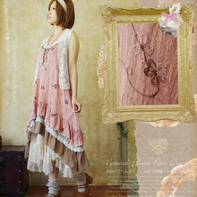 Mori girl милое платье для женщин Harajuku Цветочная вышивка лоскутное кружево слой женский Vestido Спагетти ремень Femmes платье A098