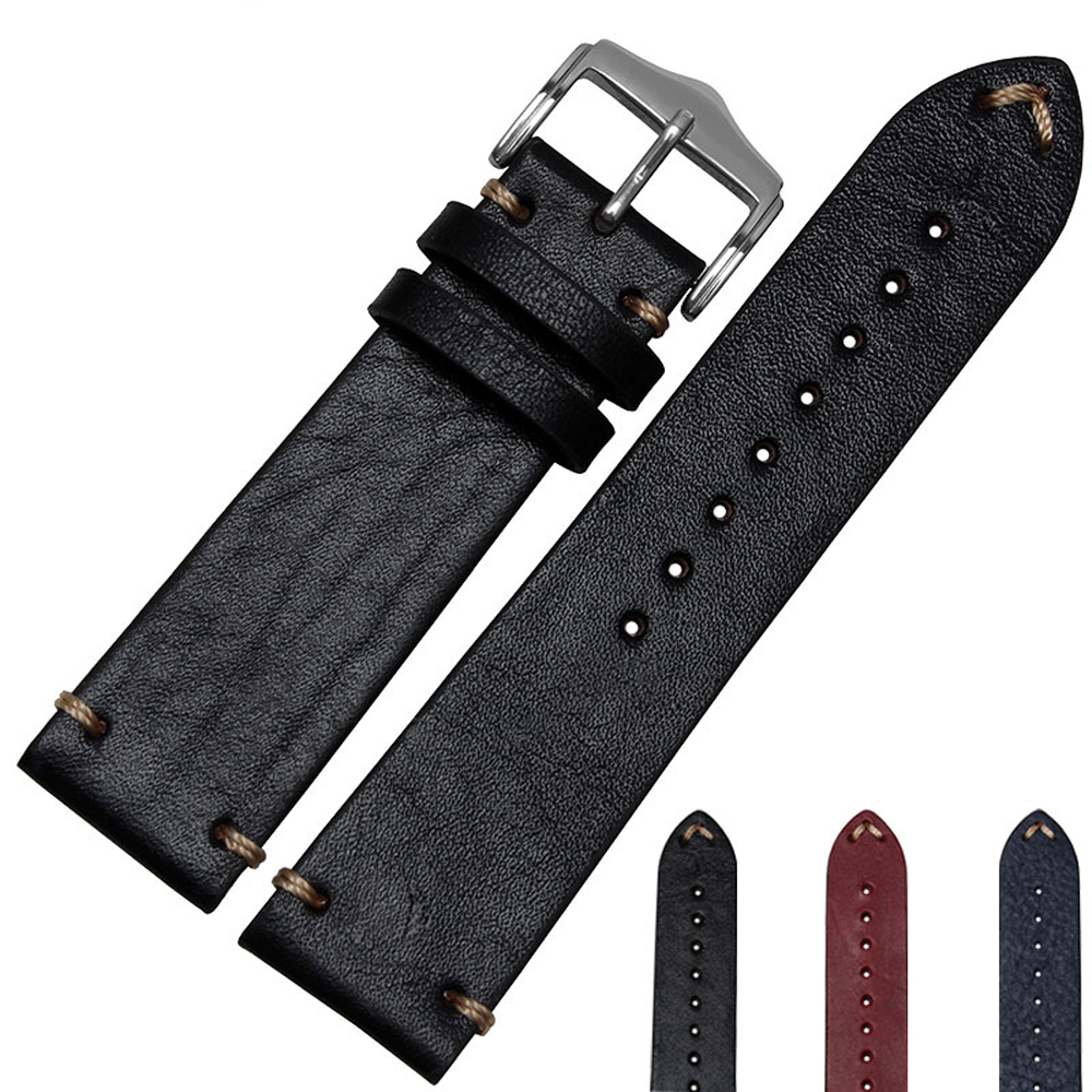 NESUN Free Shipping 20 mm/22 mm Calfskin Leather Watch Band Suitable For Zenith/Rolex Watch Wholesale and Retail
