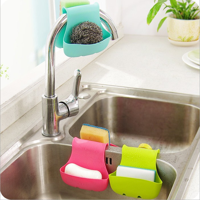 1pc New Arrive Kitchen Sink Rack Organizer Sponge Accessories Storage Box  Double Side Holder Tool(