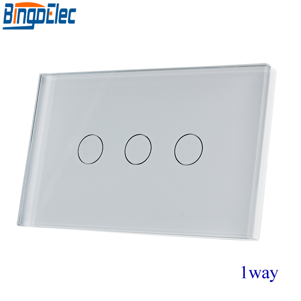 AU/EU Standard Bingoelec White Crystal Toughened Glass Panel 3gang 1way Touch Switch,Wall Light Switch,110-220V,Good Quality. 2gang 2way white crystal toughened glass panel touch switch sensor light switch