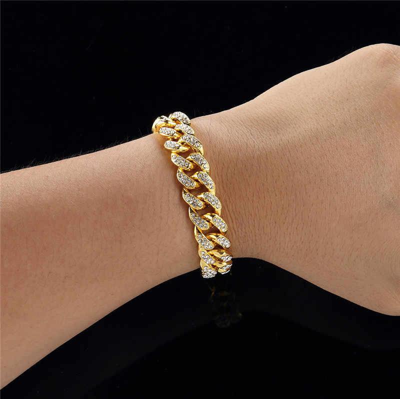 Męska bransoletka złota Miami Curb kubański Link Chain bransoletki dla mężczyzn Iced Out Hip Hop biżuteria Dropshipping